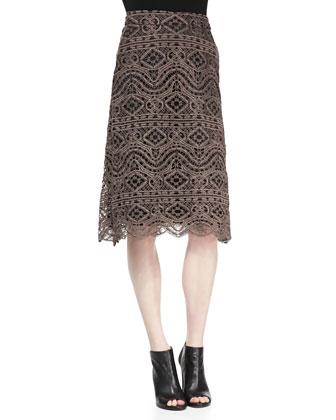 Loren Cropped Lace Shell & Natalia Lace Midi Skirt