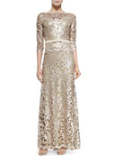 Lace Bow-Waist Gown, Ginseng