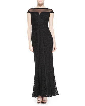 Cap-Sleeve Mesh-Yoke Lace Bias Gown