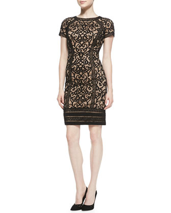 Short-Sleeve Lace-Overlay Cocktail Dress