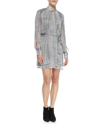 Layered Crepe/Leather Jacket & Layered Mock-Neck Printed Dress
