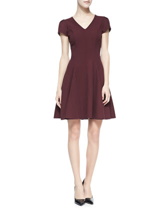 Knit Fit-And-Flare V-Neck Dress