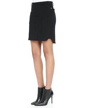 Crepe Slit-Hem Miniskirt