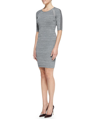 Mesh-Inset Knit Slim Dress
