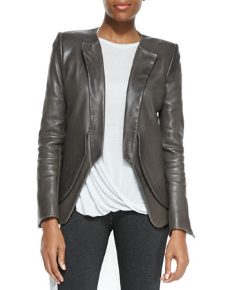 Lambskin Open-Front Blazer, Jersey Draped-Front Sleeveless Top & Jersey ...