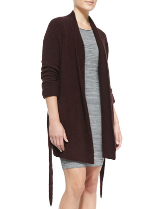 Open-Front Knit Tie Cardigan & Mesh-Inset Knit Slim Dress