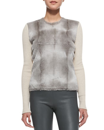 Ribbed-Sleeve Rabbit Fur Top, Gray-Beige