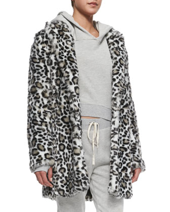 Faux-Fur Leopard-Print Coat, Sadie Cropped Knit Hooded Sweatshirt & Betsee ...