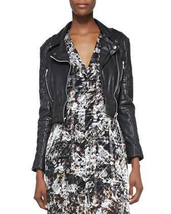 Boss Quilted Leather Moto Jacket & Printed/Burnout Sleeveless Satin Dress