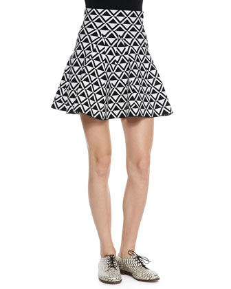 Kinsley Solid-Trim Printed Shell & Chalice Printed Flare-Hem Skirt