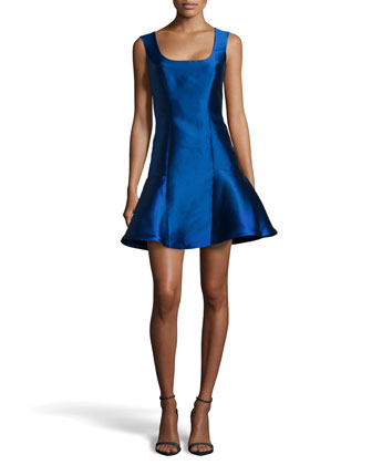 Scoop-Neck Flared Satin Cocktail Dress, Lapis