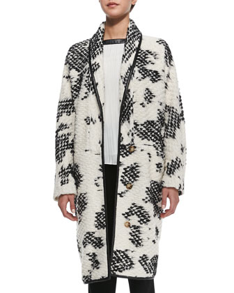 Crochet Two-Tone Coat, Ivory/Black