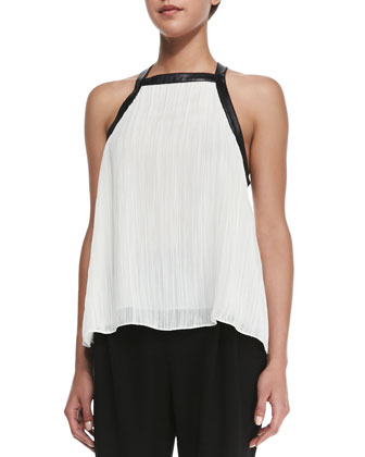 Pleated Leather-Trim Cross-Back Top