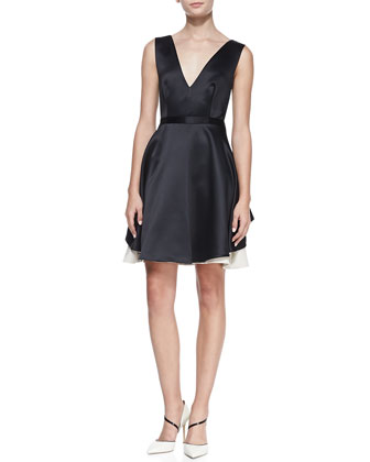 Satin Colorblock V-Neck Dress, Black/Champagne