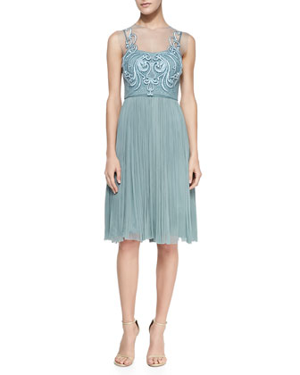 Sleeveless Embroidered-Bodice Cocktail Dress