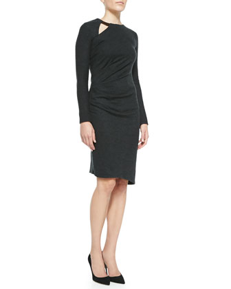 Wool Side-Pleat Long-Sleeve Dress
