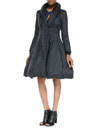 Nylon Princess Puffer Coat & Ponte Twist-Front Cutout Long-Sleeve Dress