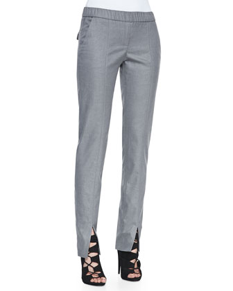 Stretch-Twill Front Slit-Detail Pants