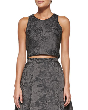Kesten Sleeveless Jacquard Crop Top
