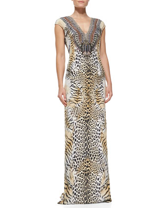 Silk Animal-Print Long Coverup Dress