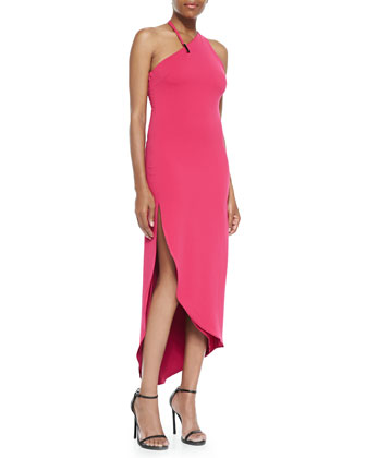 Asymmetric-Neck Fitted Halter Dress