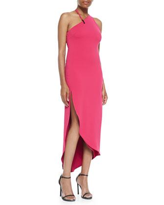 Asymmetric-Neck Fitted Halter Dress