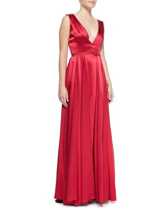 Flowy-Skirt V-Neck Gown