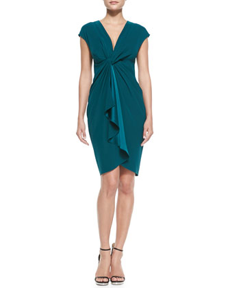 Cap-Sleeve Draped-Front Cocktail Dress