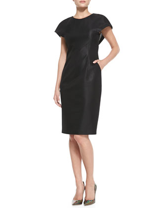Cape-Sleeve Sheath Dress with Pockets