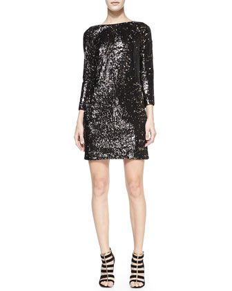 Sequined Boat-Neck Shift Dress