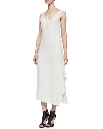 Crepe Layered-Skirt Sleeveless Maxi Dress