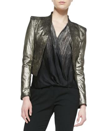 Cropped Metallic Leather Jacket