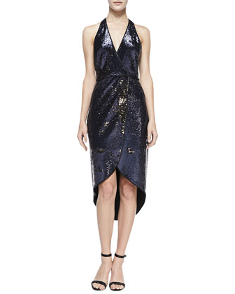Sequined Halter-Neck Dress
