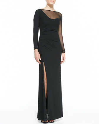 Mesh Inset Long-Sleeve Gown