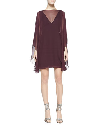 Sheer-Overlay Fitted Ponte Dress