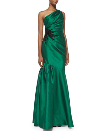 One-Shoulder Pleated Mermaid Gown