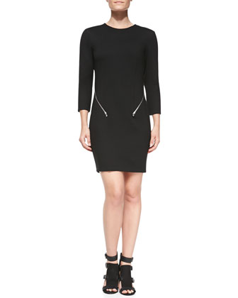 Emmet Zip-Detail Round-Neck Dress