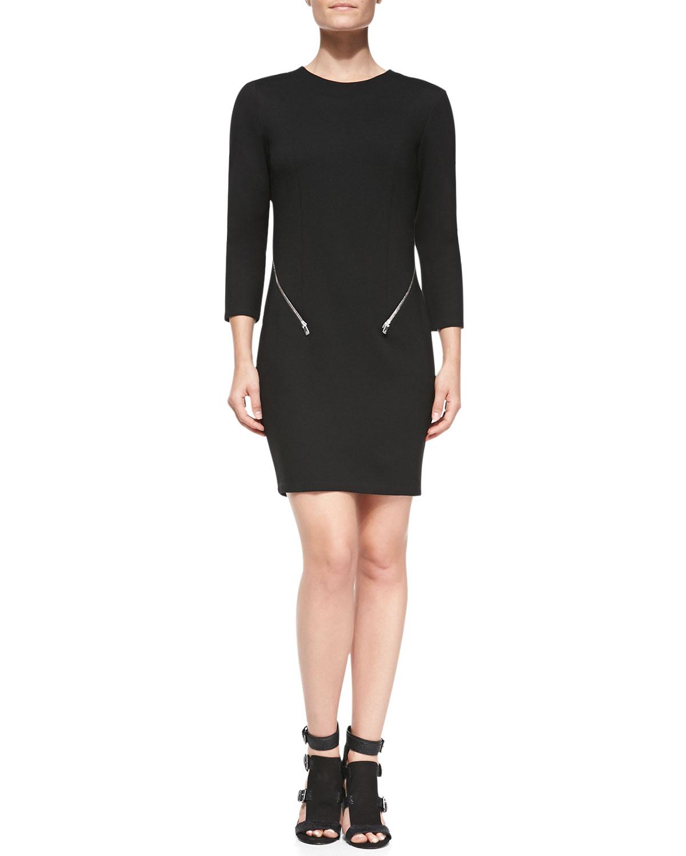 Womens Emmet Zip Detail Round Neck Dress   Rebecca Minkoff   Black (10)