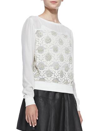Samuel Silk Metallic-Brocade Sweatshirt & Ibiza Lambskin Skirt