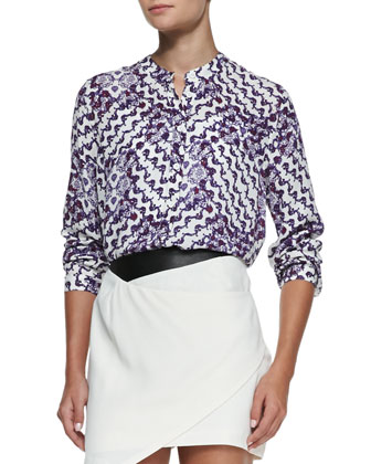 Clark Printed Silk Button-Front Blouse