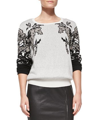 Hall Embellished Sweater, Roberta Silk Long-Sleeve Top & Marlo Leather/Knit ...