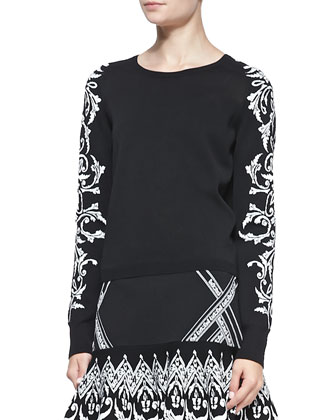 Frieze Jacquard-Sleeve Knit Sweater