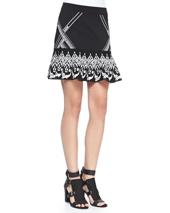 Frieze Jacquard-Sleeve Knit Sweater & Fowler Printed Sweater Skirt