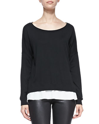 Carolina Cashmere/Silk Scoop-Neck Sweater