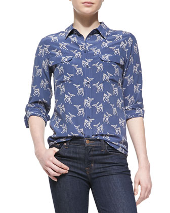 Slim Signature Printed Silk Blouse