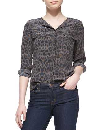 Lynn Silk Printed Long-Sleeve Blouse, Gunmetal