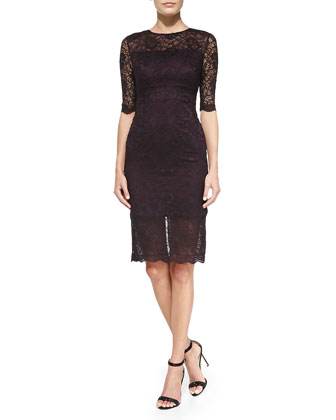 Elbow-Sleeve Lace-Overlay Cocktail Dress