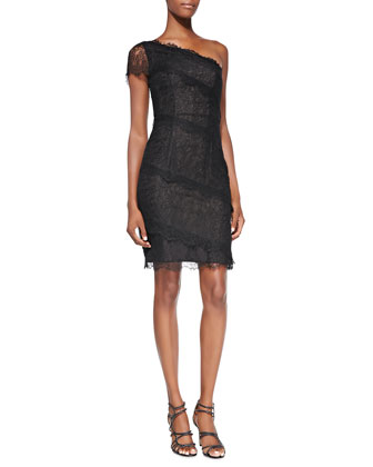 One-Shoulder Lace Overlay Cocktail Dress