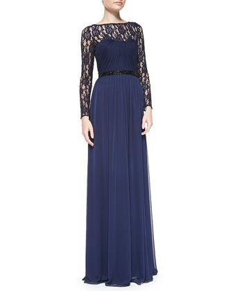 Lace Illusion Beaded-Waist Gown