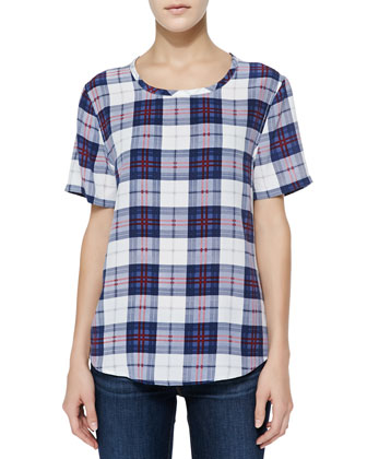 Riley Scoop-Neck Plaid Tee